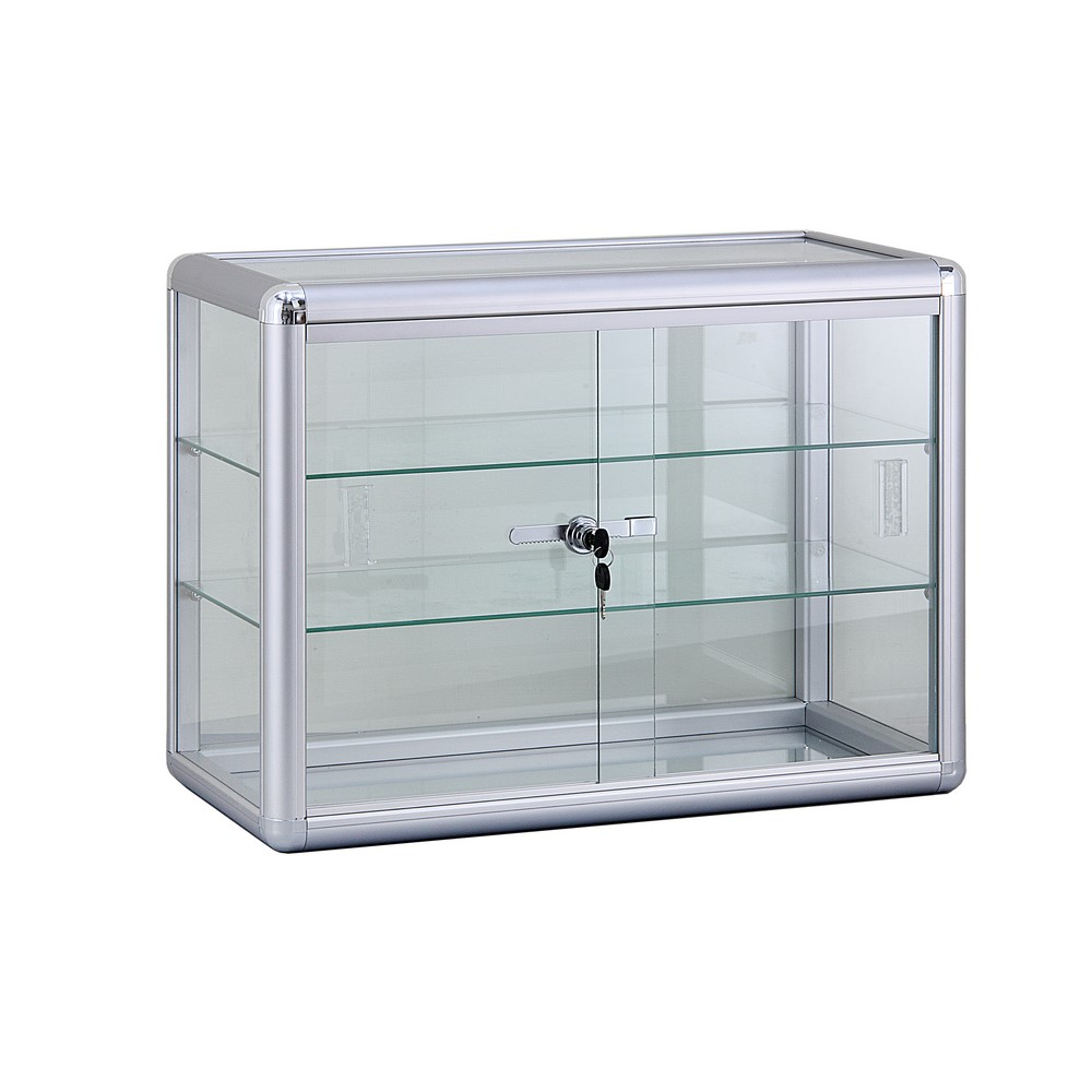 alu glas vitrine mini vitrine glas box abschlie bar mit zwei b den 615x455 mm ebay. Black Bedroom Furniture Sets. Home Design Ideas