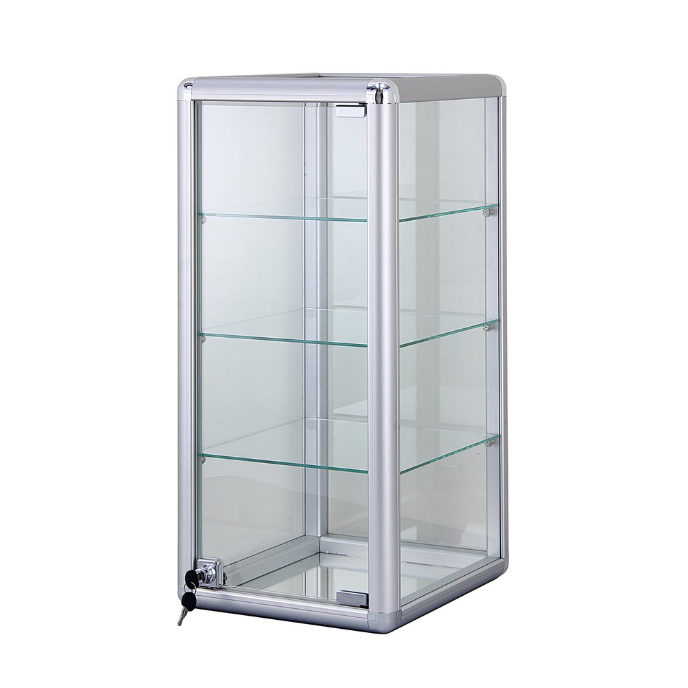 alu glas vitrine mini vitrine glas box abschlie bar mit drei b den 685x305 mm ebay. Black Bedroom Furniture Sets. Home Design Ideas