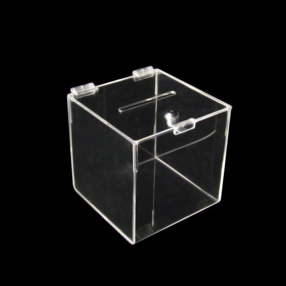 spendenbox losbox einwurfbox abschlie bar acryl 20x20x20 cm b ware 791 ebay. Black Bedroom Furniture Sets. Home Design Ideas