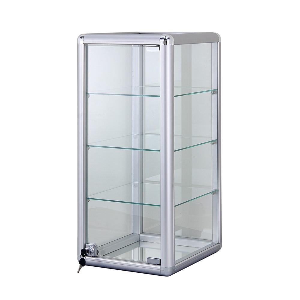 alu glas vitrine mini vitrine glas box abschlie bar mit drei b den 685x305 mm ebay. Black Bedroom Furniture Sets. Home Design Ideas